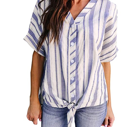 053c119120912 Owill Womens V Neck Striped Batwing Sleeve Tops Ladies Casual T Shirt Blouse  (S