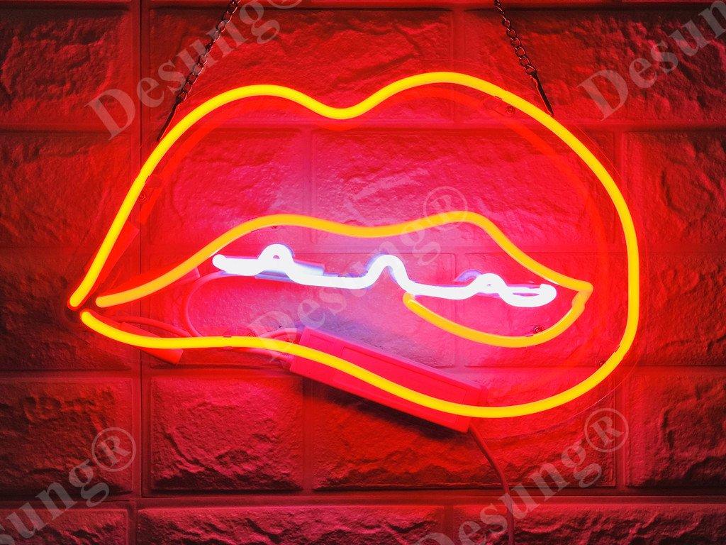 Desung Brand New 14'' Bite Lips Kiss Me Gift Lamp Decorated Acrylic Panel Handmade Custom Design Neon Sign Light WD06