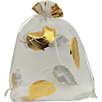 TOOGOO 100pcs Sheer Organza Favor Bags 12x9cm for Wedding Bags Samples Display Drawstring Pouches (White-Gold Leaf)