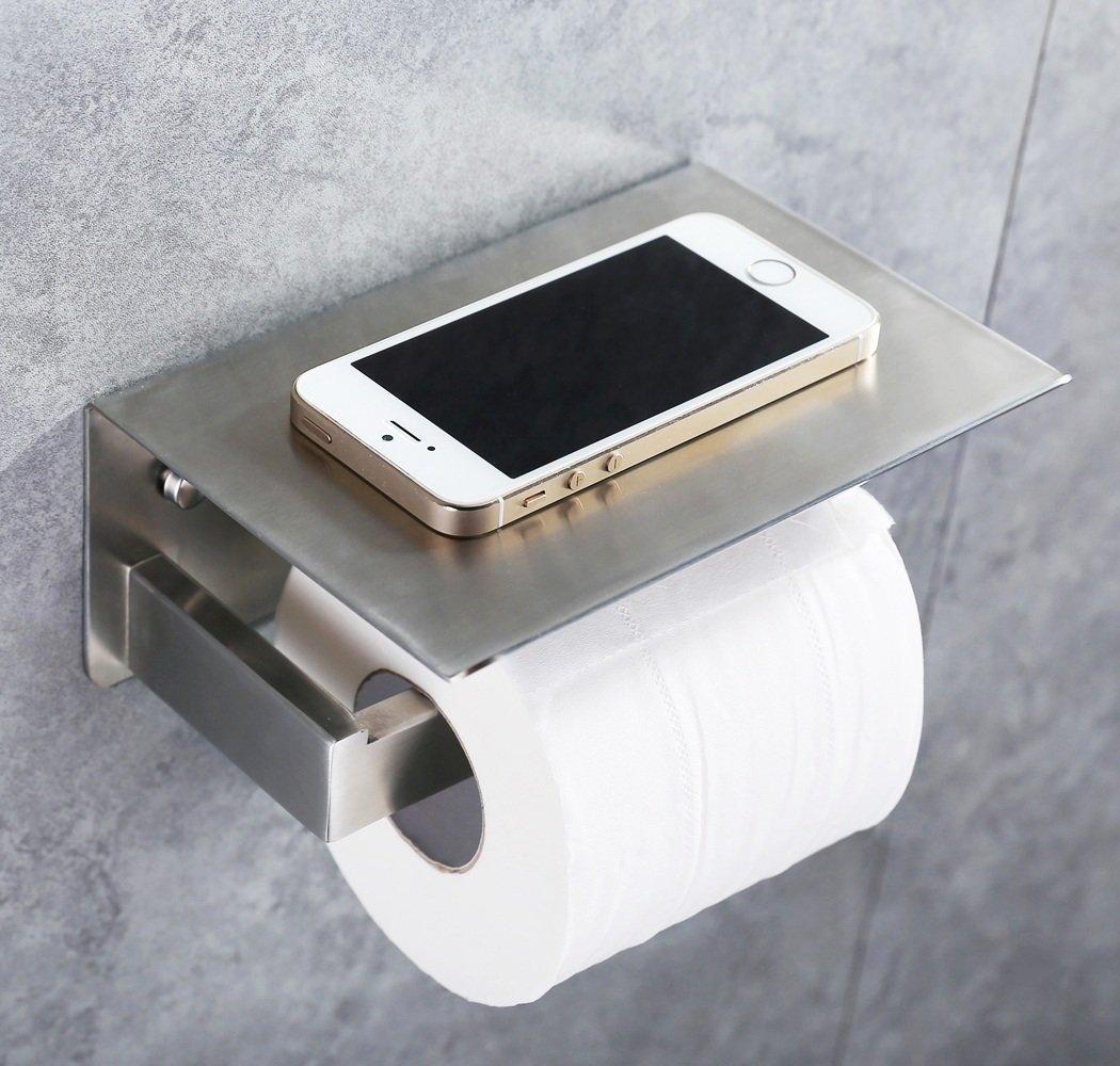 Brushed Nickel Bathroom Shelving Unit: Toilet Paper Holder SUS304 Stainless Steel Bathroom Tissue