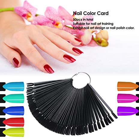 Amazon anself 50pcs nail color card nail design training card amazon anself 50pcs nail color card nail design training card nail art display chart professional nail practice palette home kitchen prinsesfo Image collections