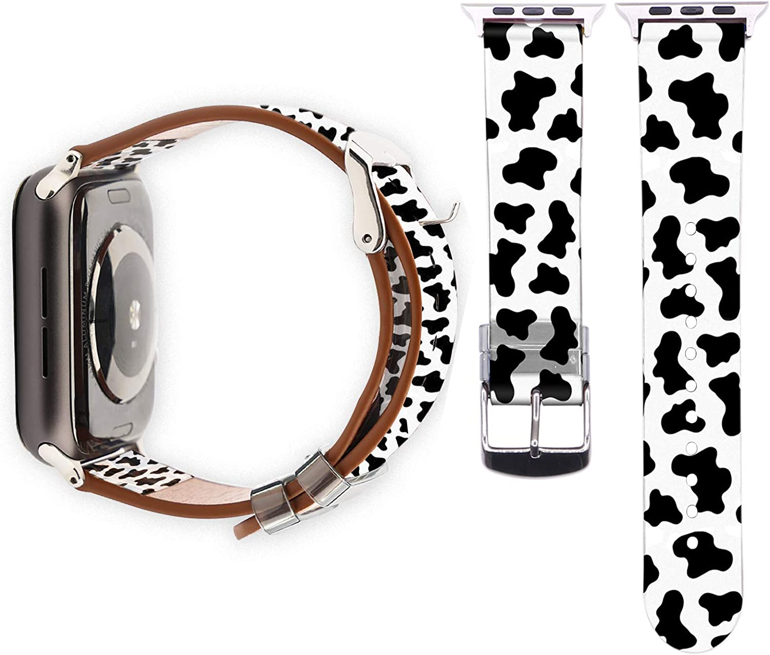 YSNUO Cartoon Cute Compatible with Apple iWatch Band 38mm 40mm/42mm 44mm, Soft Leather Watch Band Replacement Strap Women Men for iWatch 6 SE Series 5 4 3 2 1 + Silver Adapter