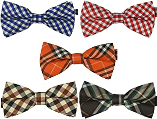 Uker Mens Plaid Tuxedo Bow Tie 5 in 1 Adjustable Pre-Tied Bow Ties Collection BTie-Mix-001