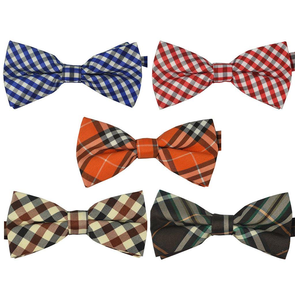 Ukerdo Mens Plaid Tuxedo Bow Tie 5 in 1 Adjustable Pre-Tied Bow Ties Collection BTie-Mix-002