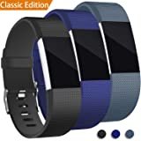 3 Pack For Fitbit Charge 2 Bands, Hotodeal Replacement Wristbands Soft Silicone Accessory Strap for Fitbit Charge2 HR Tracker, Buckle, Black+Blue+Slate, Small