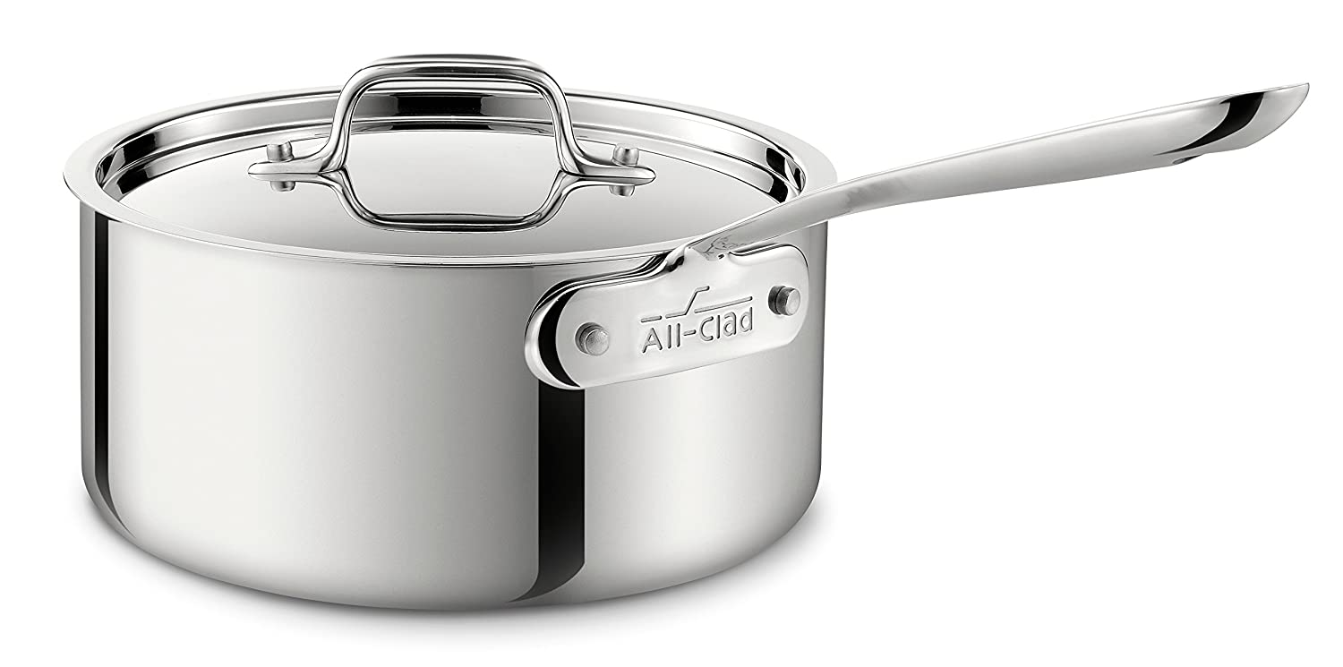 All-Clad 4203 Stainless Steel Tri-Ply Bonded Dishwasher Safe Sauce Pan with Lid / Cookware, 3-Quart, Silver (8701004398)
