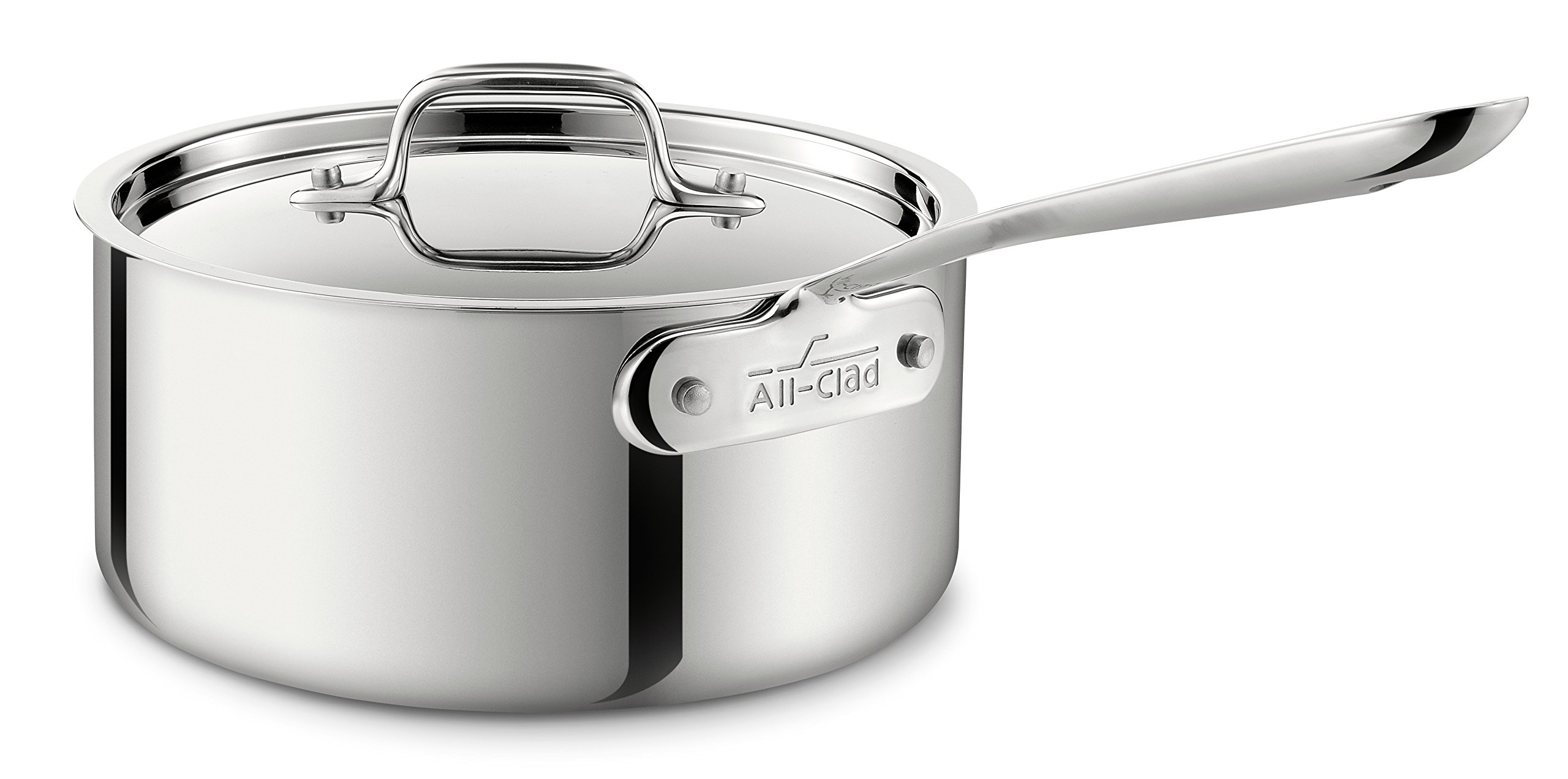 All-Clad 4203 Stainless Steel Tri-Ply Bonded Dishwasher Safe Sauce Pan with Lid / Cookware, 3-Quart, Silver by All-Clad