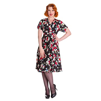 Hell Bunny Heather Black Floral 1940s Wartime WW2 Retro Vintage Victory Dress10 S