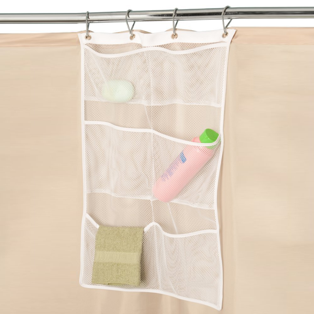 Hisight 2 Pack Quick Dry Hanging Mesh Bath Shower Organizer Shower Curtain with 6 Mesh Pockets and 4 Rings Hang on Rod Liner Hook Bathroom Save Space Bag Shampoo Conditioner Soap Storage (white) by Hisight (Image #2)