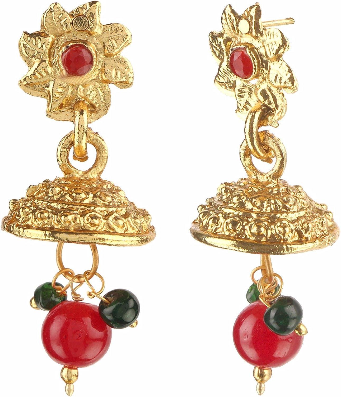 Indian Bollywood Plaqué Or AD Ruby 4 Bracelets Set Bracelets Party Wear Jewelry