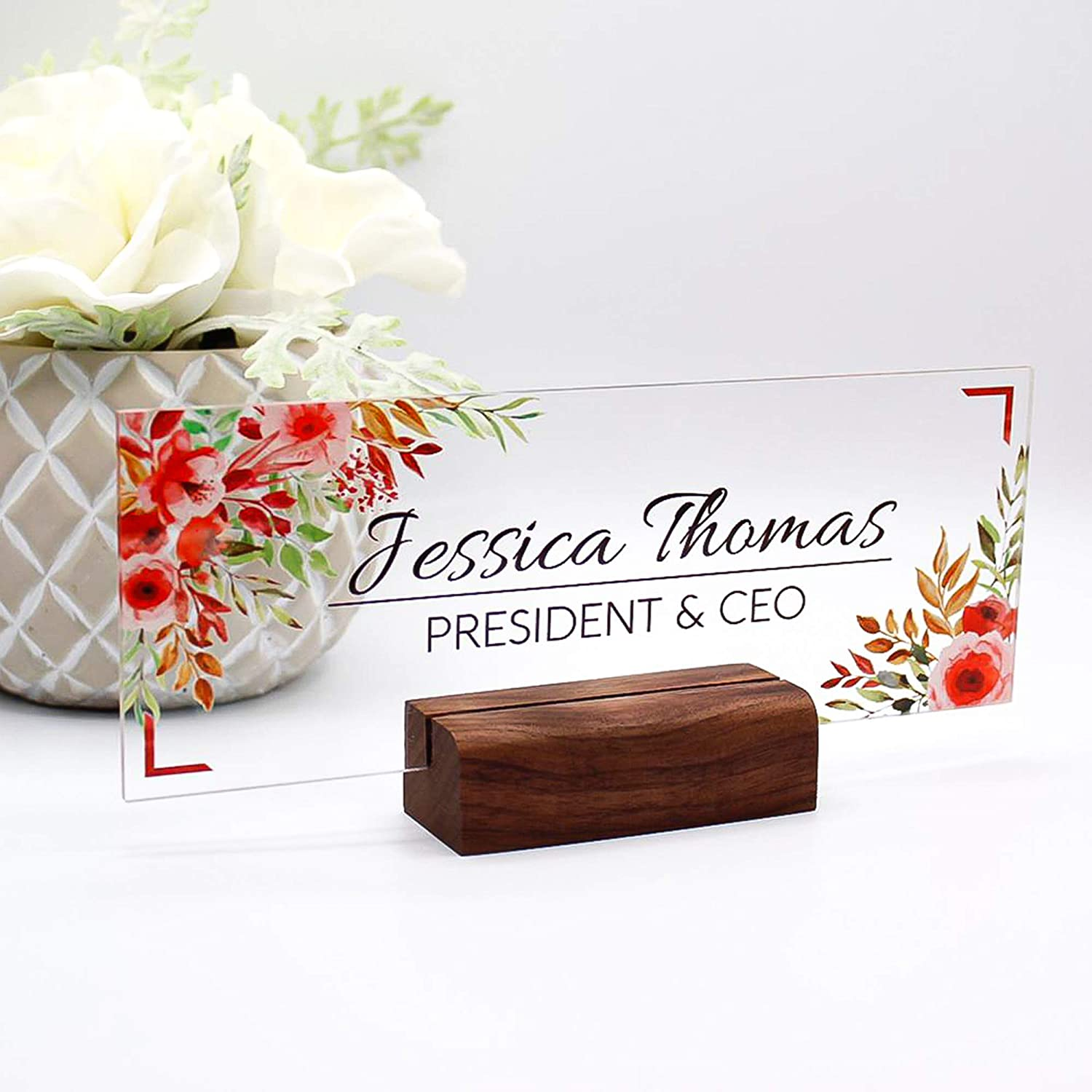 Name Plate Office Supply Personalized Secretary Sign Gift Custom Nurses Teacher Friend Special Walnut Wood Holder Red Rose Floral Flowers (8