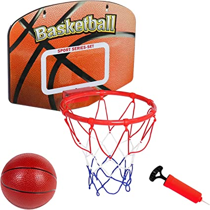 Mini Plastic Basketball Hoop Toys Pump Backboard Rim Children Kid Wall Game Toys