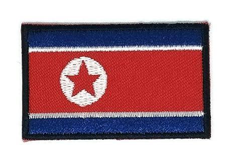 Corea del Norte Bandera bordado Applique parche para planchar (nuevo tamaño mediano. Pasa ...