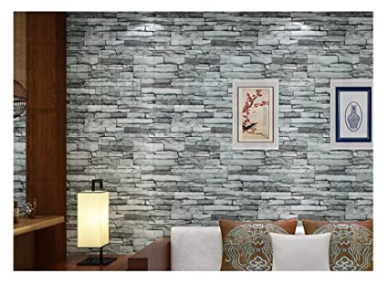 Modern 21 Inch By 394 Inch Stone Texture PVC Waterproof Brick Wallpaper  Wall Decor Wall Murals