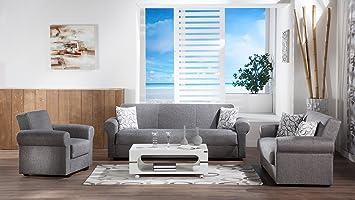 Amazon Com Elita S Diego Gray 2 Pc Living Room Set Sofa Sleeper