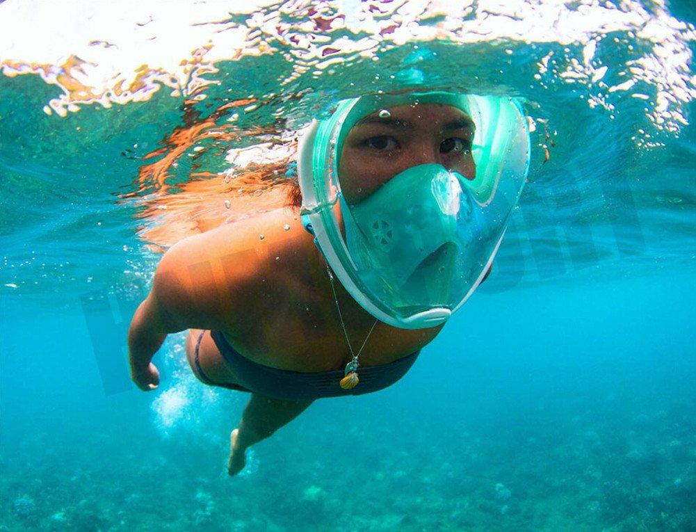 Lidaway Unterwasser-Tauchmaske Schnorchel-Set Vollgesichtsatmung Schnorchel-Maske mit Anti-Fog und Anti-Leck-Technologie passt für alle Swim-Neulinge und Taucher (Blau, L/XL)
