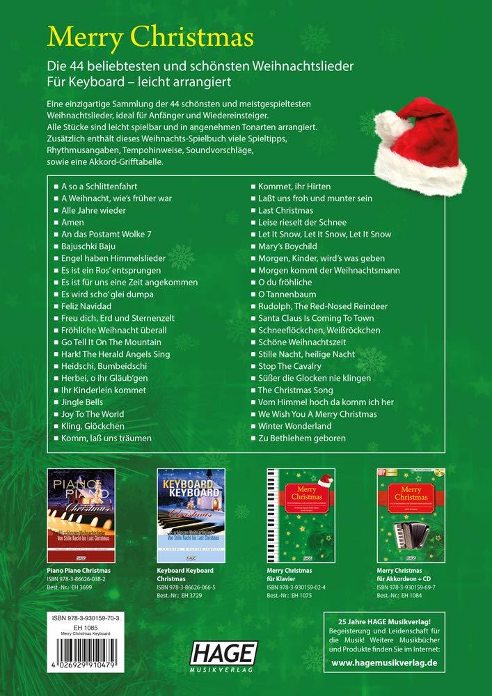 Merry Christmas für Keyboard Notenbuch. Die 45 beliebtesten und ...