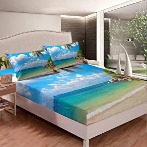 Erosebridal Ocean Beach Fitted Sheet Full Size Palm Trees Bed Sheet Set Coastal Nature Theme Bed Cover for Kids Boys Girls Teens, Hawaiian Bedding Set, Blue White Room Dorm Decorative