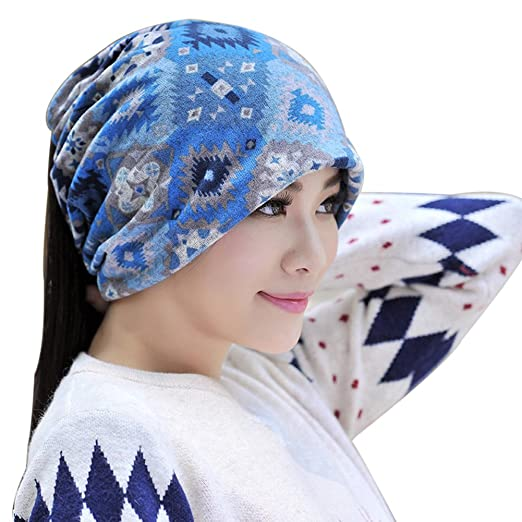 771e333ab3b33 Amazon.com  ZX101 Ponytail Beanie Hat Slouchy Warm Beanie Hats and Scarf  Dual Use With Hole Fashion Geometric Pattern Unisex Hat  Clothing
