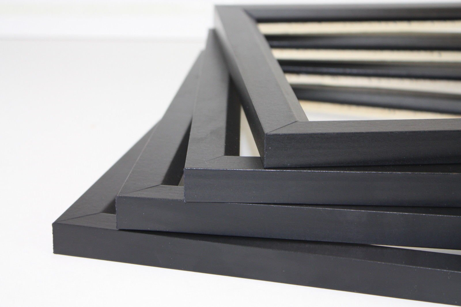 12x12 Black 1.25 Inch Solid Wood Wrapped Finish Picture Poster Photo Frame - Set of 4