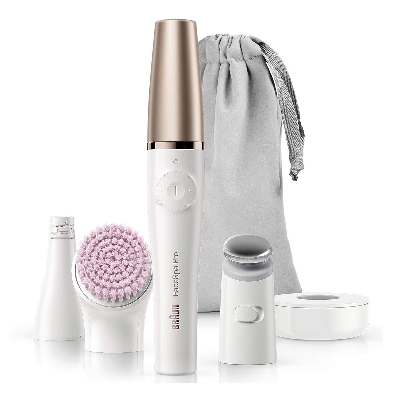 Braun FaceSpa Pro912 - Depiladora facial mujer, sistema 3 en 1 con accesorio de tonificación y cepillo de limpieza facial para un resultado profesional en casa, con 3accesorios, blanco/bronce