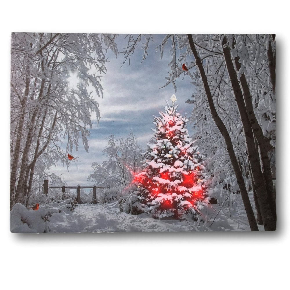 Snowy Christmas.Banberry Designs Christmas Trees And Cardinals Led Canvas Print Snowy Day In The Woods