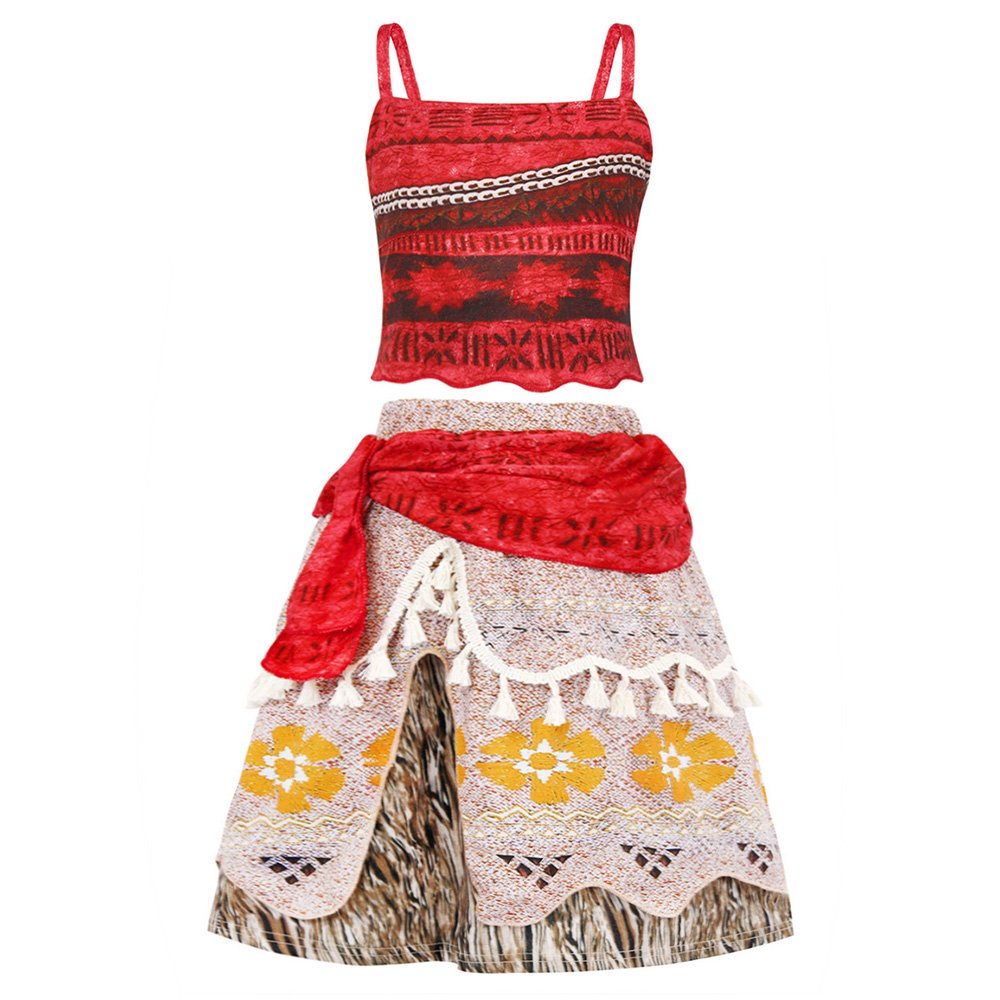 AmzBarley Moana Girls Crop Top Tassel Skirt Dress Up Party Cosplay Clothes Set D001-CA