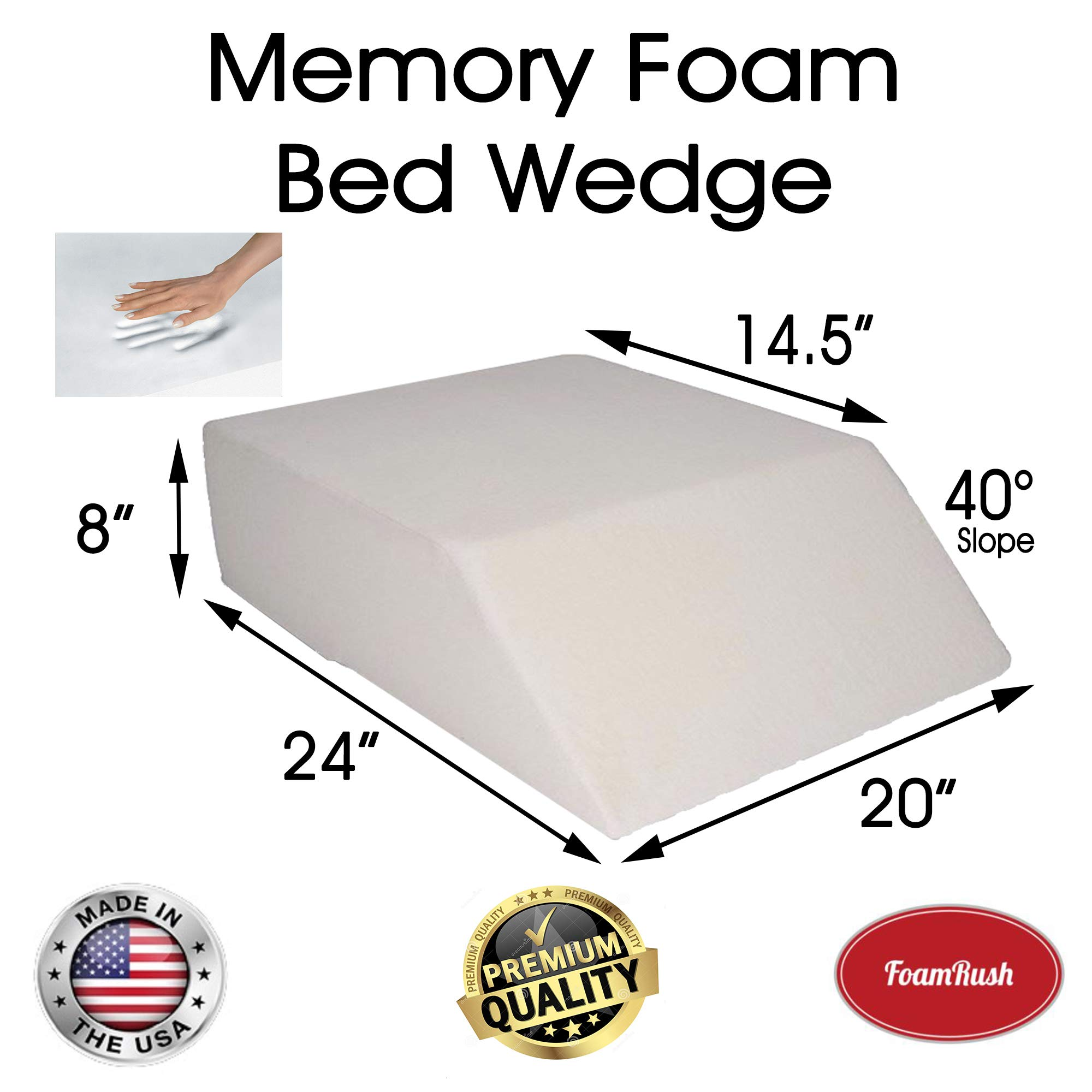 FoamRush 8'' H x 20'' W x 24'' L Premium Quality Therapeautic Ortho Supportive Bed Wedge Foam Cushion Replacement (Best for Back, Hip and Knee Pain Relief, Foot and Ankle Injury and Recovery Wedge) by FoamRush