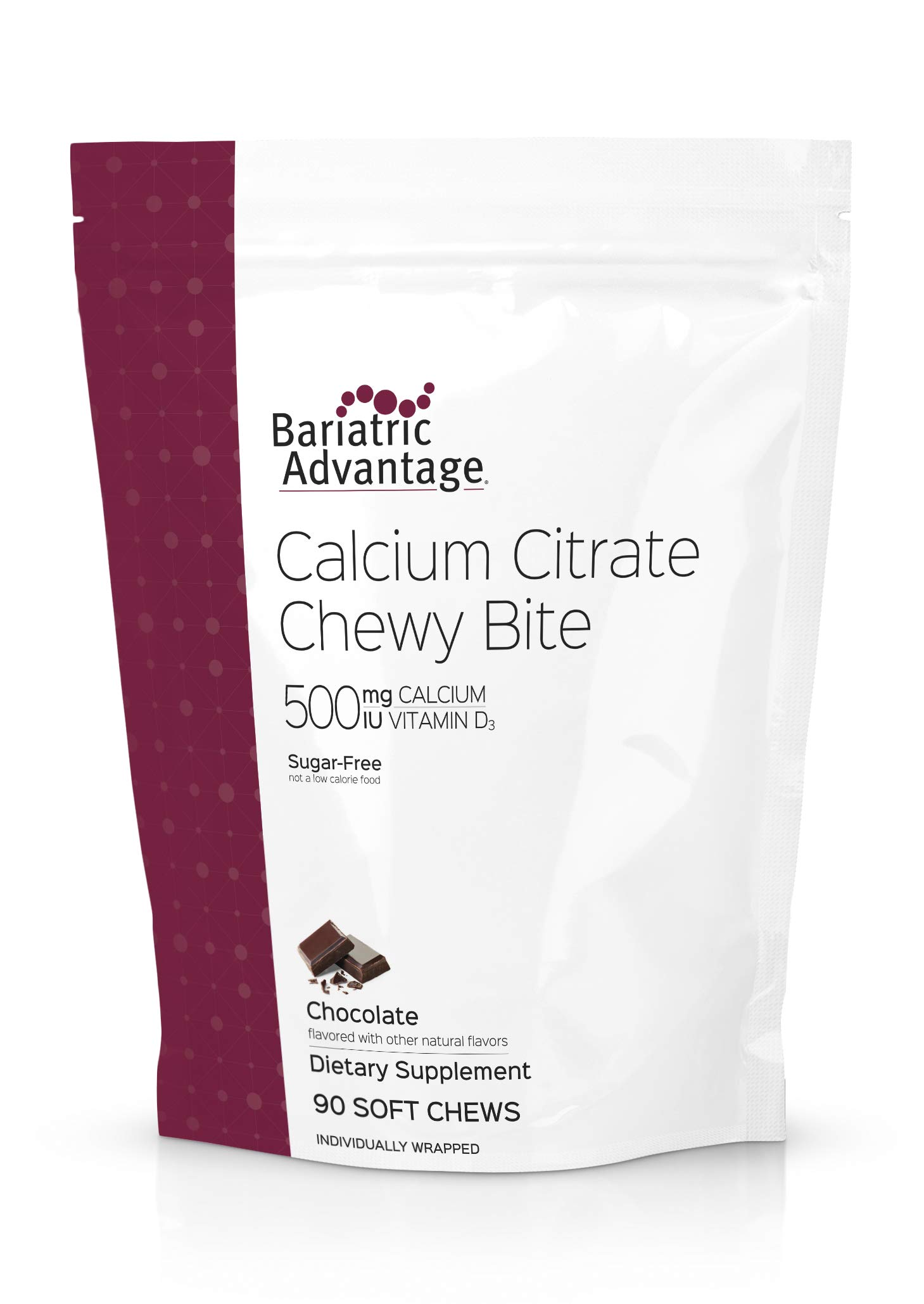 Bariatric Advantage - 500mg Calcium Citrate Chewy Bite - Chocolate, 90 count