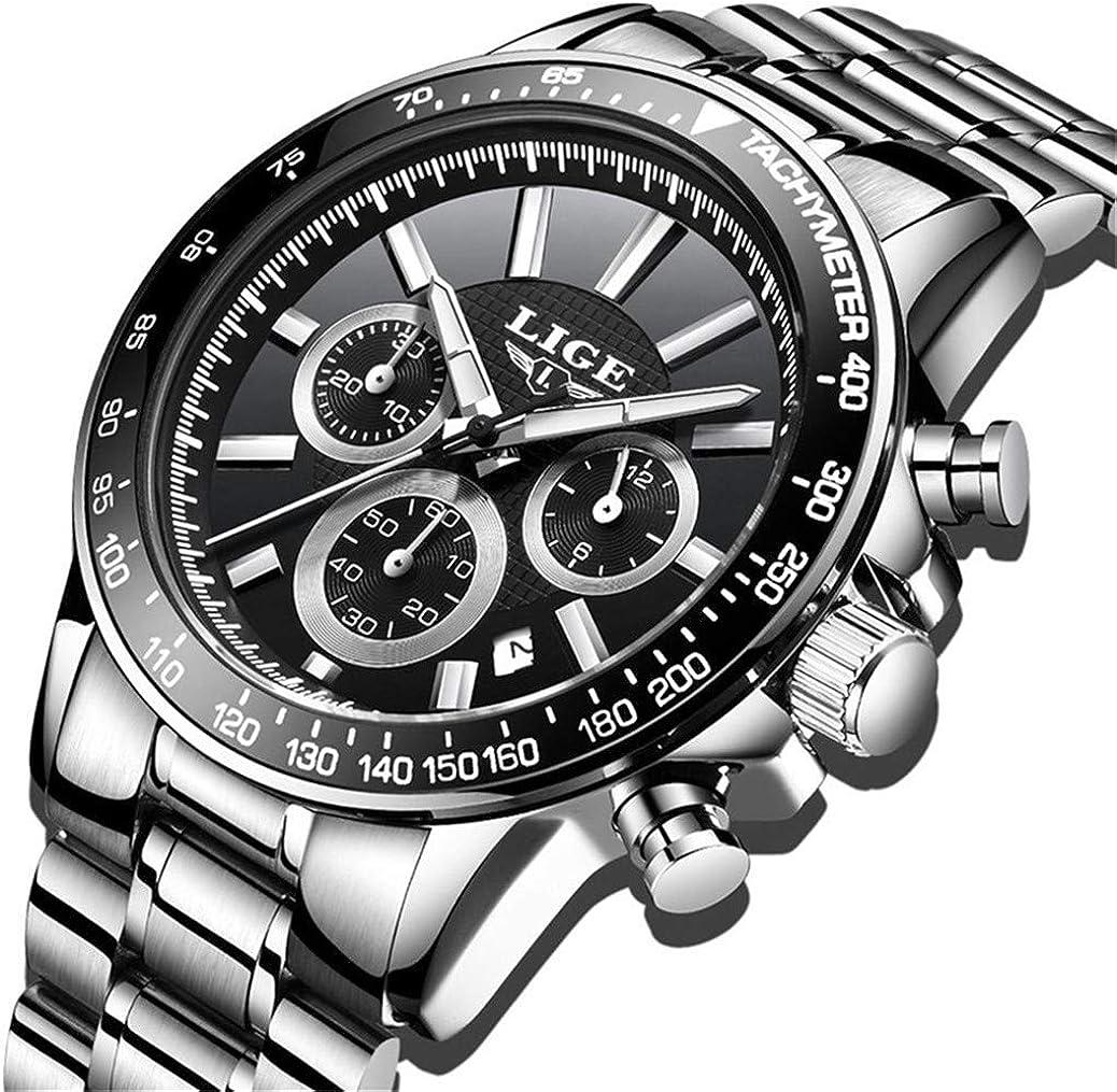 Relojes para Hombre Acero Inoxidable Impermeable Reloj Hombres Vestido Negocios Pulsera Plata Reloj Negro