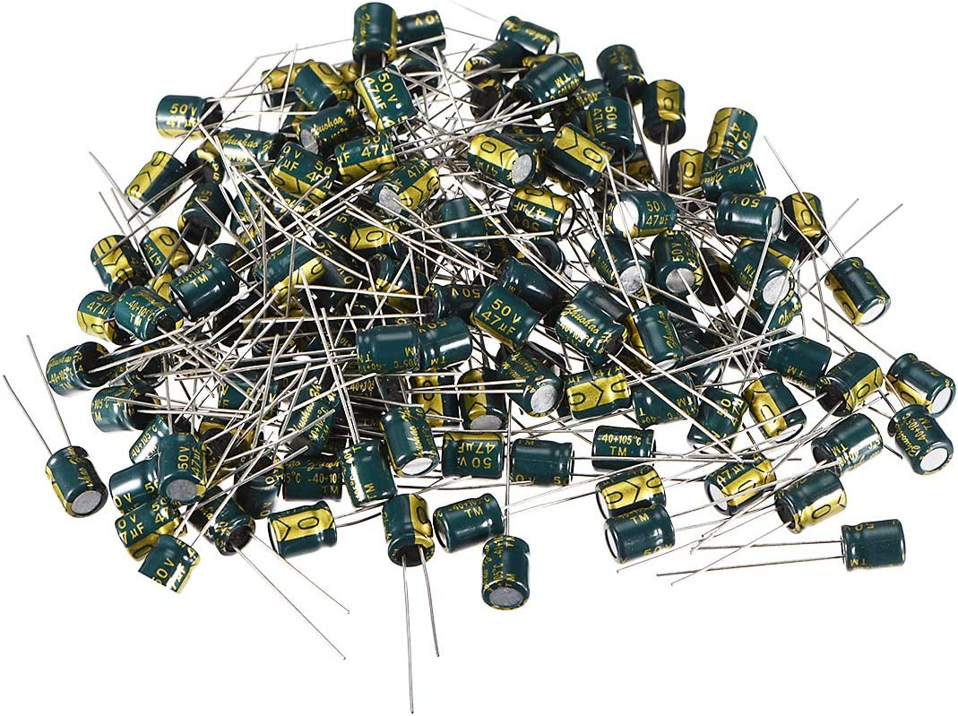 uxcell Aluminum Radial Electrolytic Capacitor Low ESR Green with 47UF 50V 105 Celsius Life 3000H 6 x 7 mm High Ripple Current,Low Impedance 150pcs