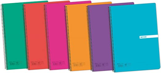Enri Status 400043836 - Pack de 5 cuadernos espiral, tapa plástico ...