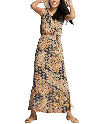 127f81328c7f ESPRIT Damen Kleid 056EE1E003-mit Paisley-Muster, Mehrfarbig (Navy 400),
