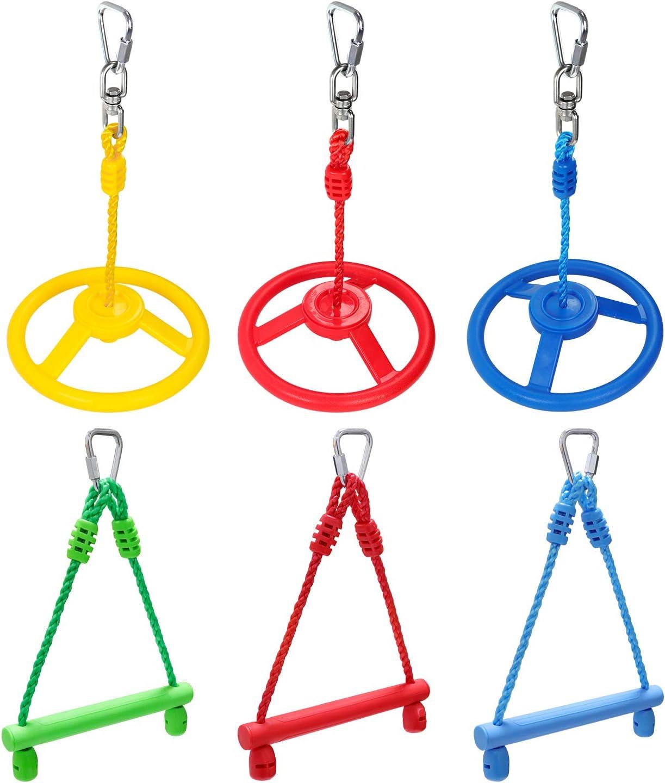 Rainbow Craft Ninja Obstacle Bundle for 3-Pack Ninja Wheel & 3-Pack Monkey Bar - Swing Wheel, Trapeze Wheel, Ninja Bars, Swing Bars