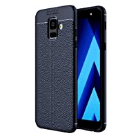 Golden Sand Leather Texture Shockproof Armor TPU Back Cover for Samsung Galaxy A6 2018 5.6-inches(Blue)