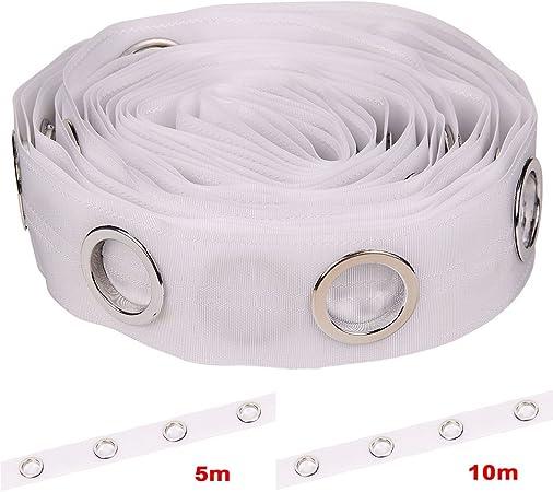 Tissu 10M Silver Allright Rideau /à Oeillets Bande Stores Accessoires /à coudre ruban Blanc