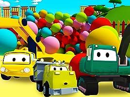 Equipo Constructor construye una piscina de pelotas y una rueda de la fortuna. ¡Ethan el camión volquete, Edgar la excavadora y Charlie la grúa son los ...