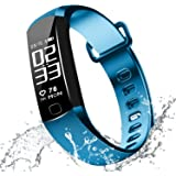 Blood Pressure Bracelet Fitness Tracker - Newyes R8 Smart Watch with SPO2H Heart Rate Monitor Sleeping Management Pedometer with OLED Touch Screen for Android iOS (Blue)