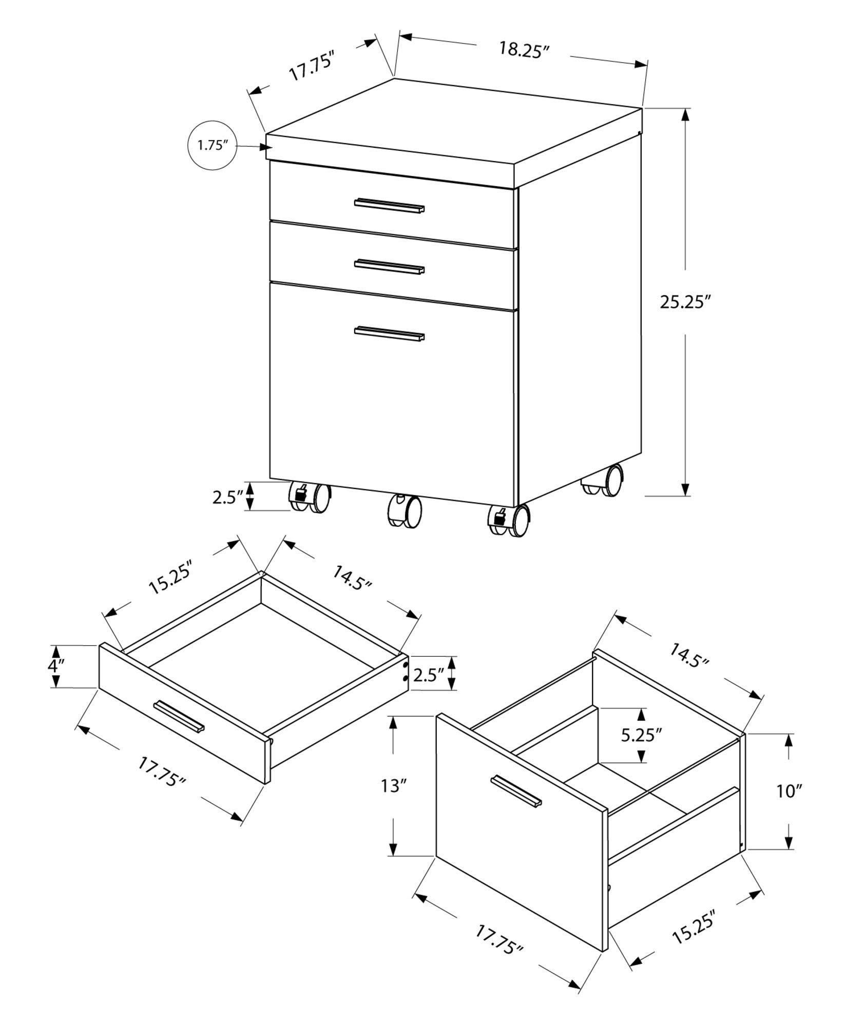 Monarch Specialties I I 7400 Filing Cabinet, Brown by Monarch Specialties (Image #2)