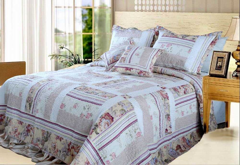 Blossoming Cotton Patchwork 5-Piece Quilt Set, Queen/Full, Ivory