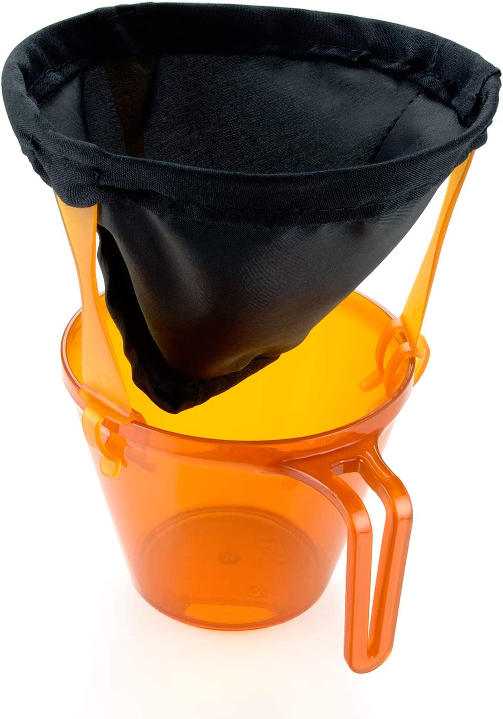 Image of the ultralight Java dripper above an orange pitcher.