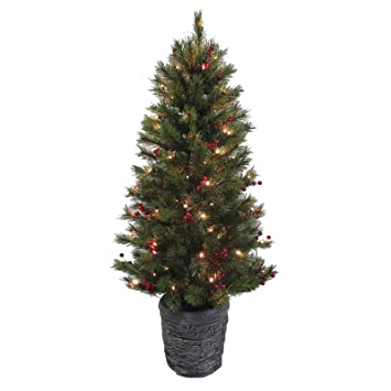 4ft Pine Artificial Christmas Tree With Red Berries Pre-lit Warm ...