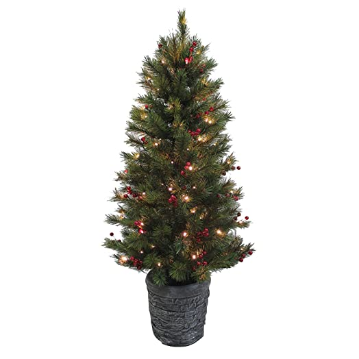4ft Pine Artificial Christmas Tree With Red Berries Prelit Warm