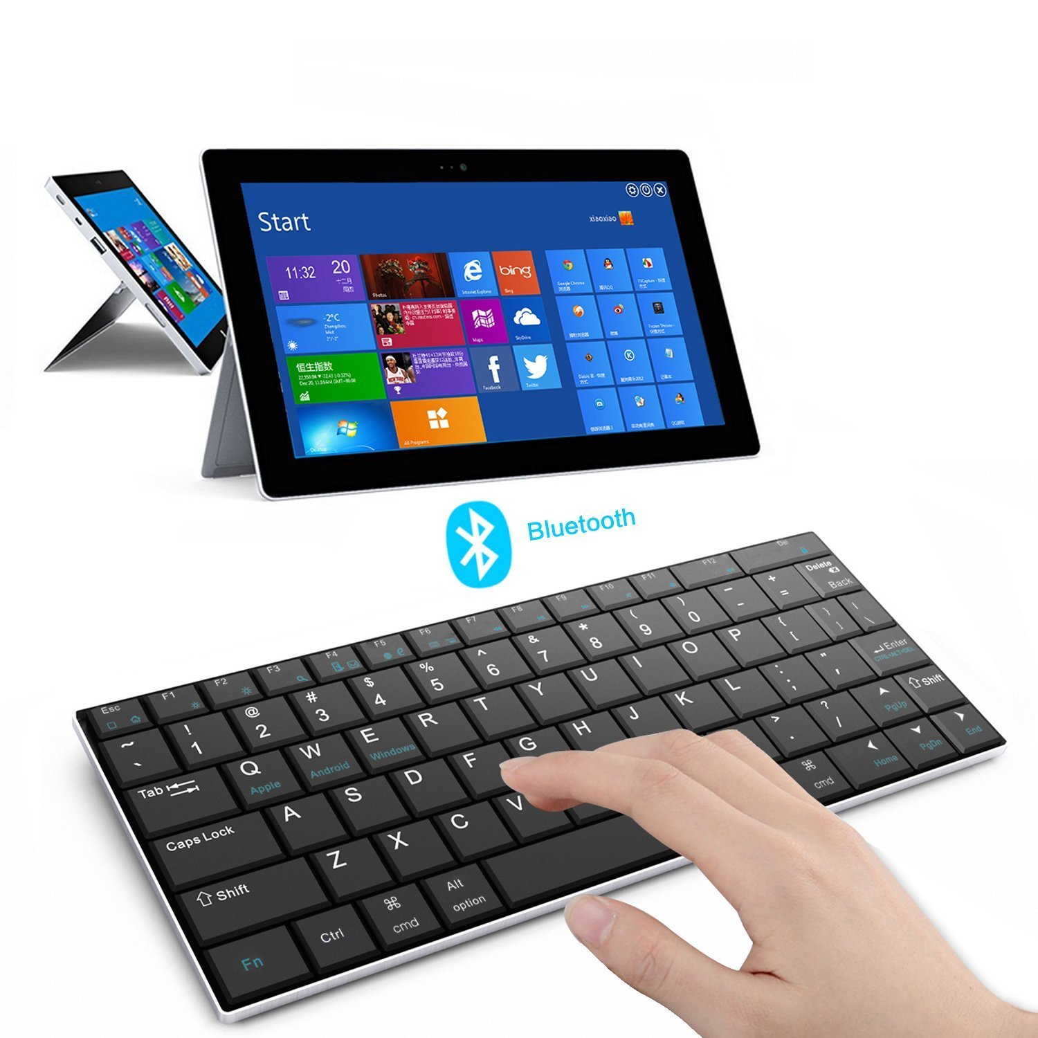 Rii i9 Bluetooth 3.0 Ultra Slim Wireless Rechargable Keyboard With Stainless Stand Cover For iOS/Android and Windows PC/Laptop/Notebook/MacBook/Samsung Galaxy Tablet/iPhone/iPad/Microsoft Surface by Rii (Image #3)
