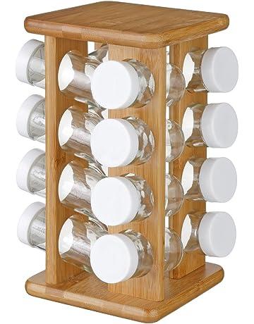 cromato Portaspezie con 18 barattoli di vetro e etichette Esylife