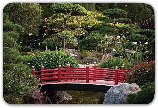 Estera de la puerta delantera de la decoración del apartamento, pequeño puente sobre el estanque Jardín japonés Monte Carlo Mónaco Junto con árboles y plantas Felpudo decorativo para adentro o afuera: Amazon.es: