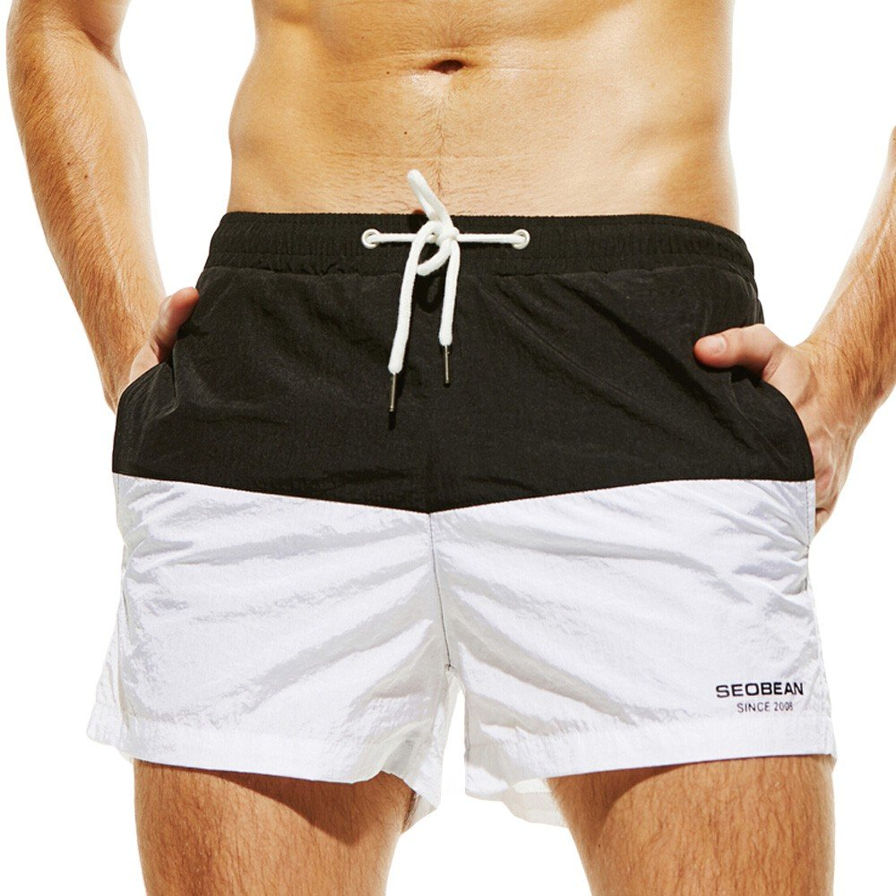 2927c67fa9f Amazon.com: XINDEEK Men Swimwear Summer Holiday Patchwork Quick Dry Swimming  Shorts Slim Breathable Trunks: Clothing