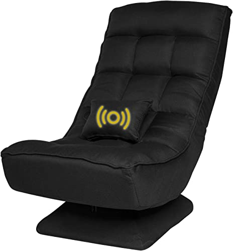 360 Degree Swivel Gaming Chair, Lazy Sofa Adjustable Folding Floor Chair, with,Vibration Massage Pillow 4 Adjustable Positions, Comfortable Padded Backrest, Game Rocker for Teens Adults Black