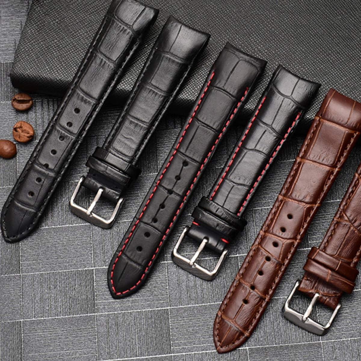 Bracelet de Montre en Cuir véritable de 20mm/21mm/22mm avec Bracelet de Montre aux extrémités incurvées Black Pin Silver