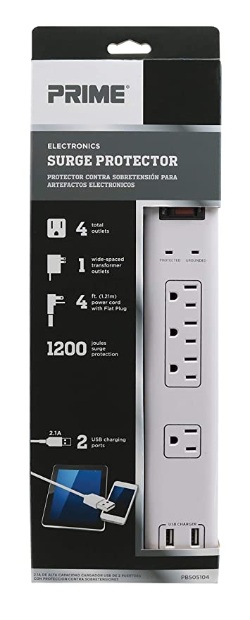 Amazon.com: Prime Wire & Cable PB525106 6-Outlet Electronics Surge ...
